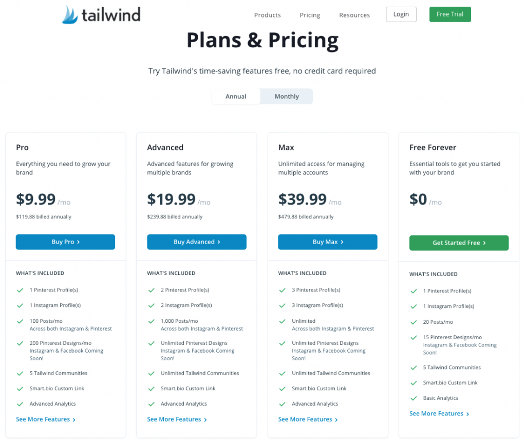 tailwind app pricing